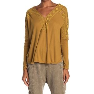 NWT Free People Lace V Neck Long Sleeve